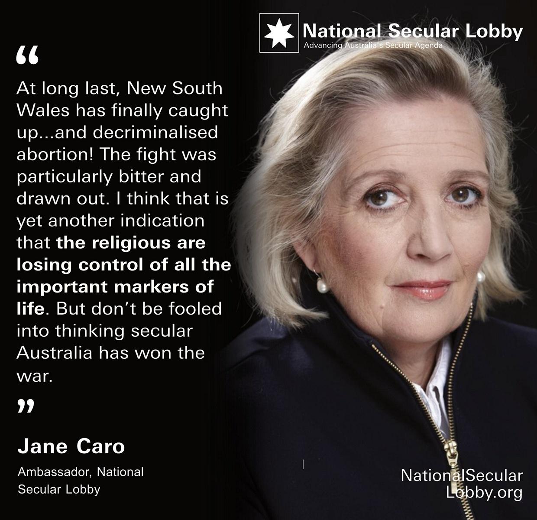 Jane Caro - Decriminalising abortion in NSW